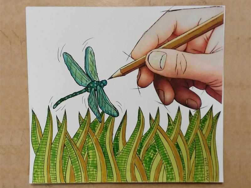 il volo della libellula illustrazione